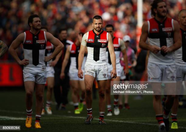 Jarryn Geary of the Saints looks dejected after a loss during the 2017 AFL round 21 match between the Melbourne Demons and the St Kilda Saints at the...