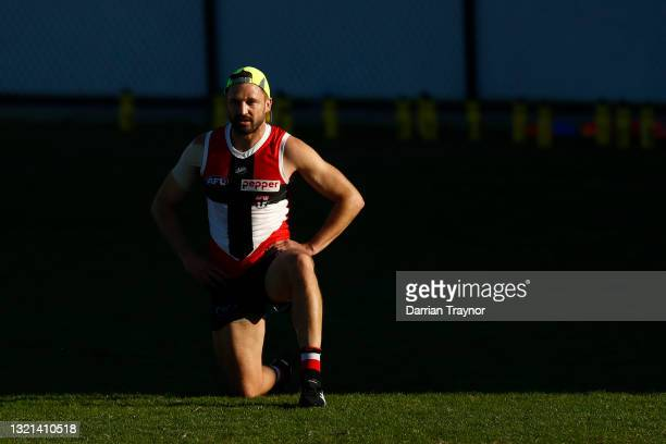 Jarryn Geary of the Saints stretches during a St Kilda Saints AFL training session at RSEA Park on June 03, 2021 in Melbourne, Australia.