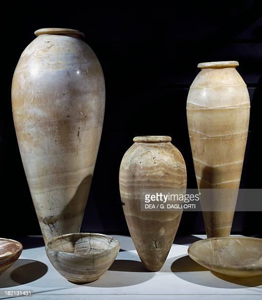 Jars alabaster Egyptian civilisation Old Kingdom Paris Musée Du Louvre