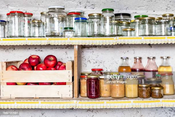 Jars and preserves on shelf