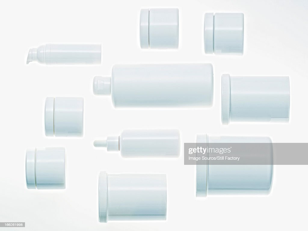 Jars arranged on counter : Stock Photo