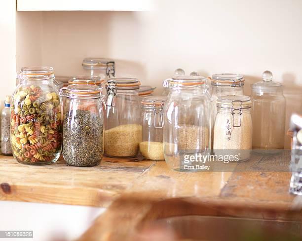 Jars filled with ingredients