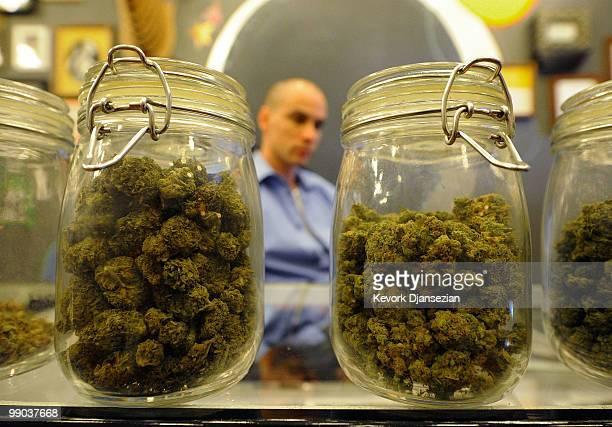 Jars full of medical marijuana are seen at Sunset Junction medical marijuana dispensary on May 11 2010 in Los Angeles California The dispensary is...