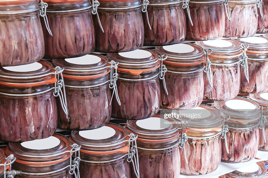 jars of anchovies : Stock Photo