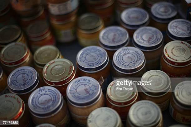 Jars of baby food sit at Qualcomm Stadium October 24 2007 in San Diego California Between 7500 and 11000 evacuated resident have used Qualcomm...