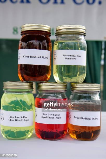 Jars of biodiesel at the Miami International Agriculture and Cattle Show