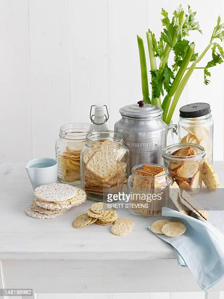 Jars of crackers and flatbreads