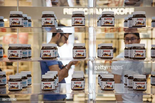 Jars of Ferrero SpA's Nutella hazelnut chocolate spread featuring names on the labels sit on display at a Nutella pop up store inside Pacific Place...