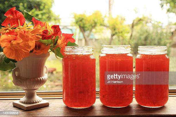jars of french marmalade - jill harrison stock pictures, royalty-free photos & images