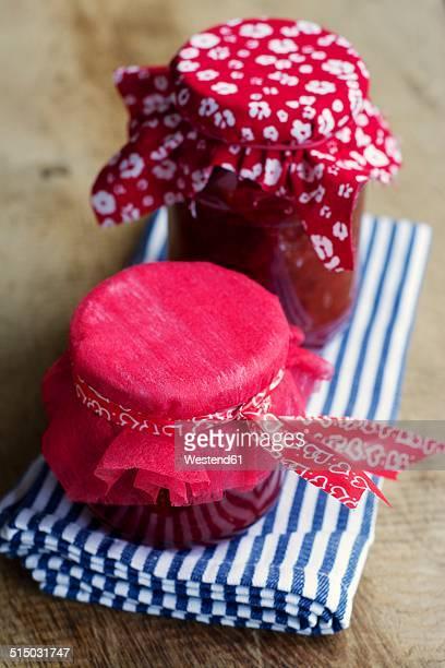 Jars of home made strawberry jam