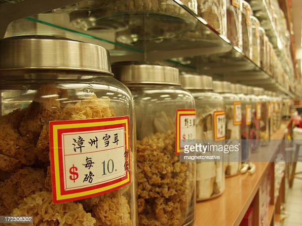 Jars of ingredients for traditional Chinese medicine
