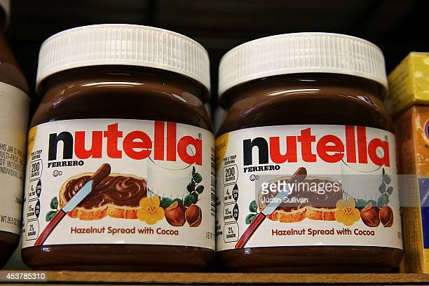 Jars of Nutella are displayed on a shelf at a market on August 18 2014 in San Francisco California The threat of a Nutella shortage is looming after...
