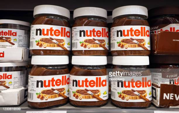Jars of nutella hazelnut chocolate spread in a Morrisons supermarket, operated by Wm Morrison Supermarkets Plc, in Saint Ives, U.K., on Monday, July...