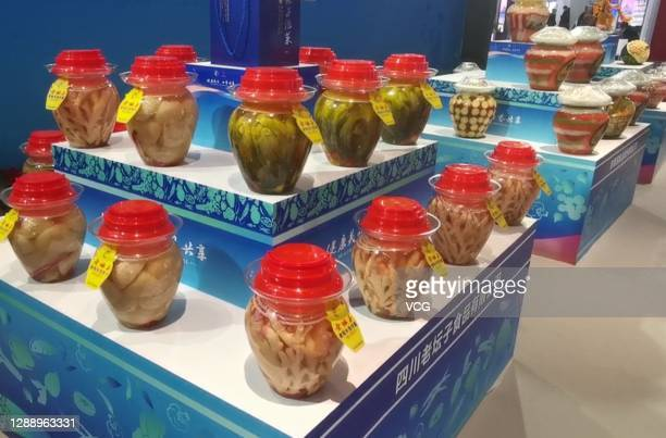 Jars of pickles are on display during the 12th China International Pickle Food Expo on November 16, 2020 in Meishan, Sichuan Province of China.