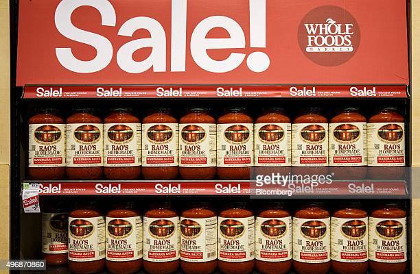 Jars of Rao's Homemade marinara sauce are displayed for sale at the new Whole Foods Market Inc store in downtown Los Angeles California US on Monday...