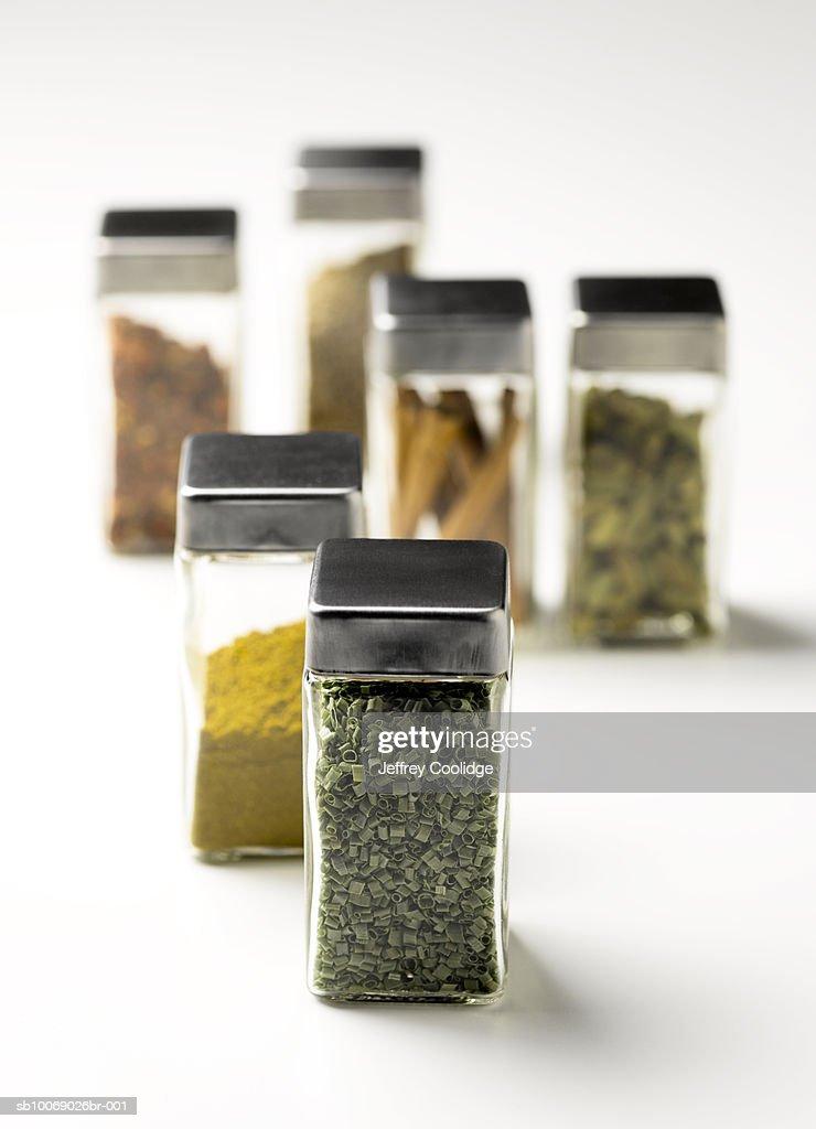 Jars of spices, studio shot : Stock Photo