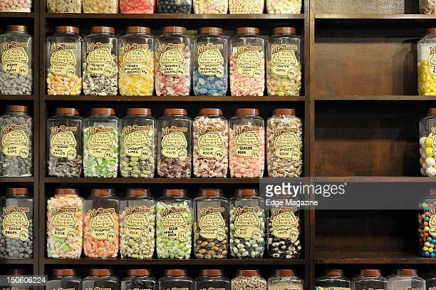 Jars of sweets in an old fashioned sweet shop Bath September 23 2009