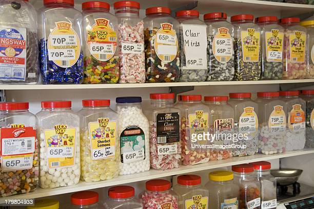 Jars of traditional sweets in sweetshop Woodbridge Suffolk England