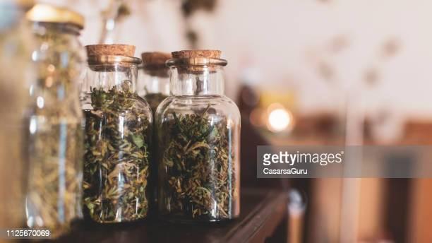 frascos con plantas de cannabis secas - organismo vivo fotografías e imágenes de stock