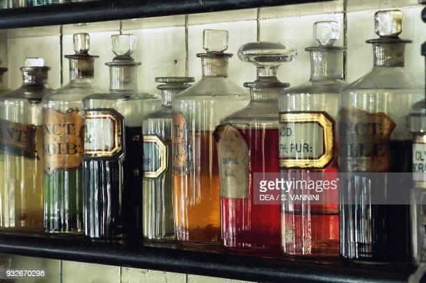Jars with medicines in a pharmacy Blist Hill Museum Ironbridge Shropshire England United Kingdom