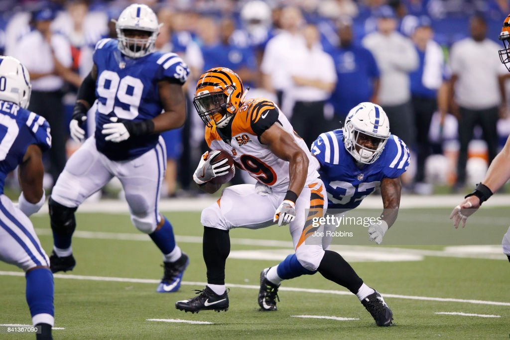Jarveon Williams #39 of the Cincinnati Bengals runs the ball against the Indianapolis Colts in the second half of a preseason game at Lucas Oil Stadium on August 31, 2017 in Indianapolis, Indiana.