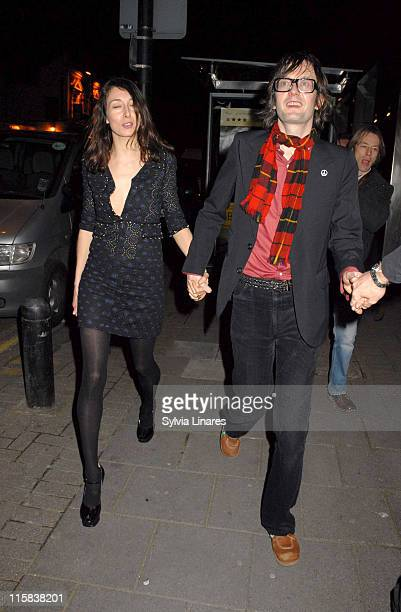 Jarvis Cocker and guest during Shockwaves NME Awards 2007 Departures at Hammersmith Palais in London Great Britain