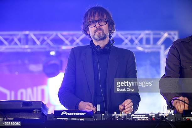 Jarvis Cocker DJs on stage for On Blackheath festival at Blackheath Common on September 13 2014 in London United Kingdom