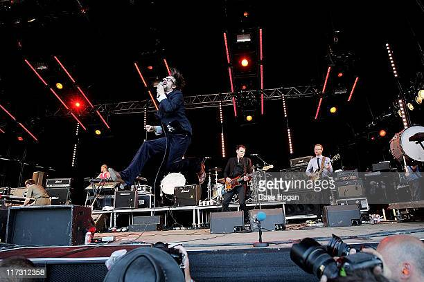 Jarvis Cocker of Pulp performs at the Glastonbury Festival at Worthy Farm Pilton on June 25 2011 in Glastonbury England The festival which started in...