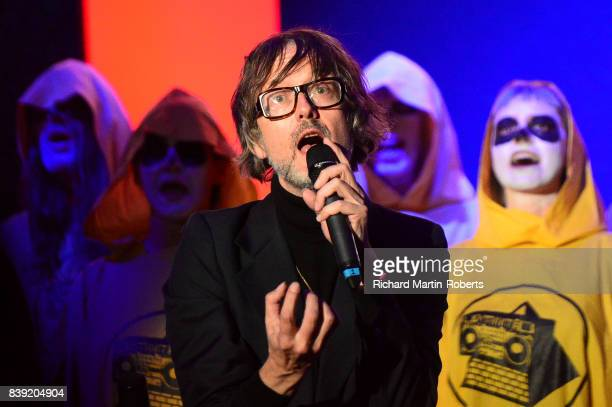 Jarvis Cocker sings at The Rites of Mu as The Justified Ancients of Mu Mu Present 'Welcome To The Dark Ages' on August 25 2017 in Liverpool England