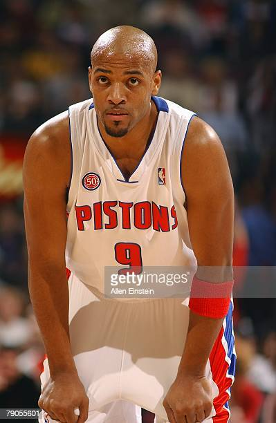 Jarvis Hayes of the Detroit Pistons rests during the game against the Milwaukee Bucks on December 31, 2007 at the Palace of Auburn Hills in Auburn...