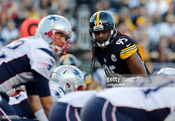 Jarvis Jones of the Pittsburgh Steelers in action against the New England Patriots at Heinz Field on October 23 2016 in Pittsburgh Pennsylvania