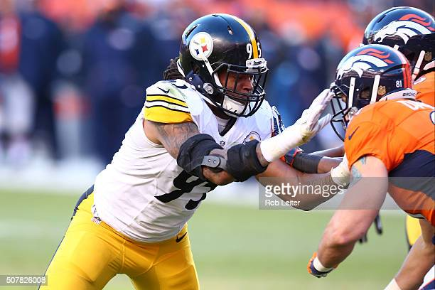 Jarvis Jones of the Pittsburgh Steelers in action during the game against the Denver Broncos at Sports Authority Field At Mile High on January 17...
