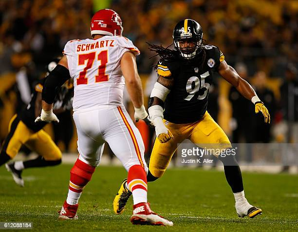 Jarvis Jones of the Pittsburgh Steelers looks to rush around Mitchell Schwartz of the Kansas City Chiefs in the first half during the game at Heinz...