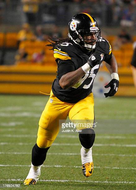 Jarvis Jones of the Pittsburgh Steelers plays against the New York Giants during the preseason game on August 10 2013 at Heinz Field in Pittsburgh...