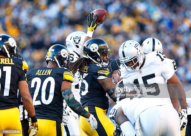 Jarvis Jones of the Pittsburgh Steelers reacts after a fumble recovery in the 3rd quarter of the game against the Oakland Raiders at Heinz Field on...