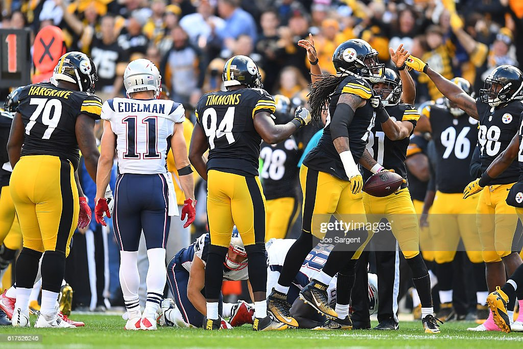 Jarvis Jones #95 of the Pittsburgh Steelers reacts after recovering a fumble in the first quarter during the game against the New England Patriots at Heinz Field on October 23, 2016 in Pittsburgh, Pennsylvania.