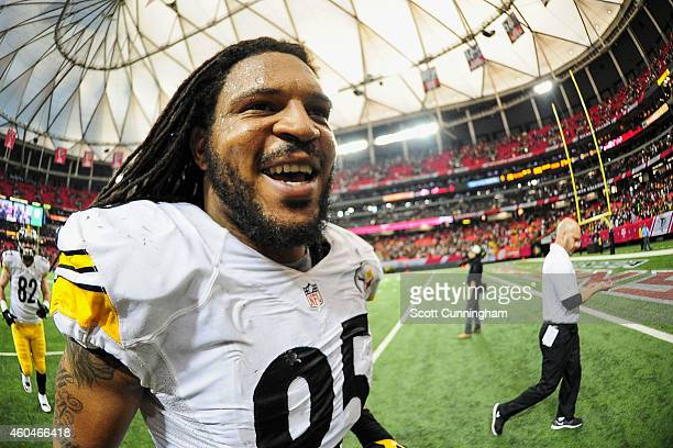 Jarvis Jones of the Pittsburgh Steelers runs off the field after the game against the Atlanta Falcons at the Georgia Dome on December 14 2014 in...