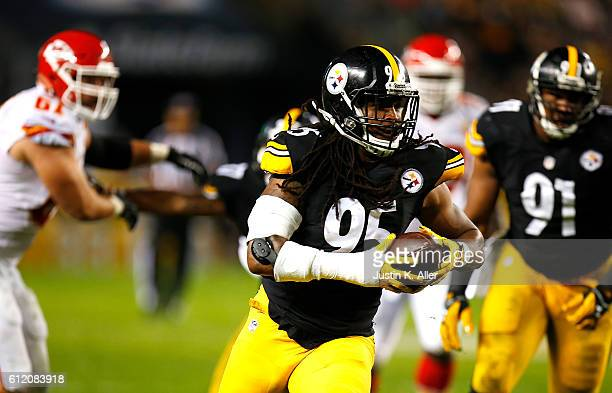 Jarvis Jones of the Pittsburgh Steelers runs up field after intercepting a pass in the first quarter during the game against the Kansas City Chiefs...