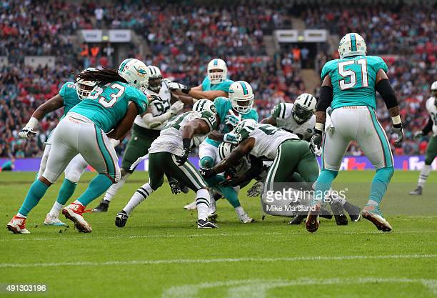 Jarvis Landry at the annual NFL International fixture as the New York Jets compete against the Miami Dolphins at Wembley Stadium on October 4 2015 in...