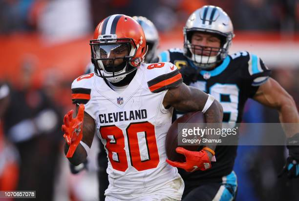 Jarvis Landry of the Cleveland Browns carries the ball during the fourth quarter against the Carolina Panthers at FirstEnergy Stadium on December 9...