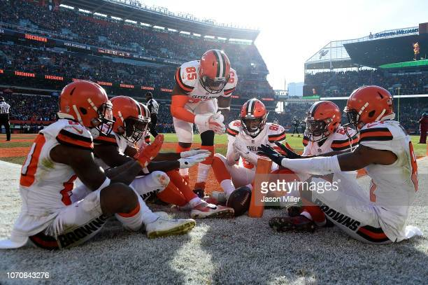 Jarvis Landry of the Cleveland Browns celebrates his touchdown with teammates during the second quarter against the Carolina Panthers during the...