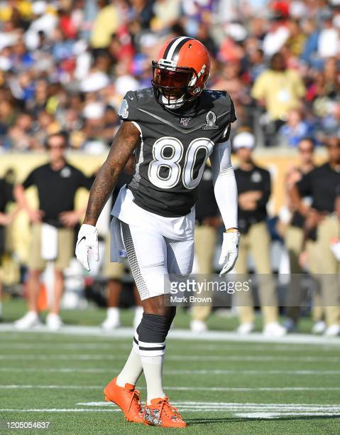 Jarvis Landry of the Cleveland Browns in action during the 2020 NFL Pro Bowl at Camping World Stadium on January 26 2020 in Orlando Florida