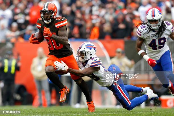 Jarvis Landry of the Cleveland Browns is tackled by Levi Wallace of the Buffalo Bills during the second quarter at FirstEnergy Stadium on November 10...
