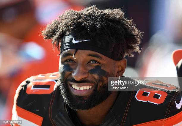 Jarvis Landry of the Cleveland Browns looks on during the second quarter against the Kansas City Chiefs at FirstEnergy Stadium on November 4, 2018 in...