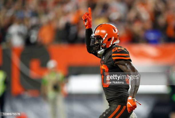 Jarvis Landry of the Cleveland Browns reacts after throwing for a twopoint conversion during the third quarter against the New York Jets at...