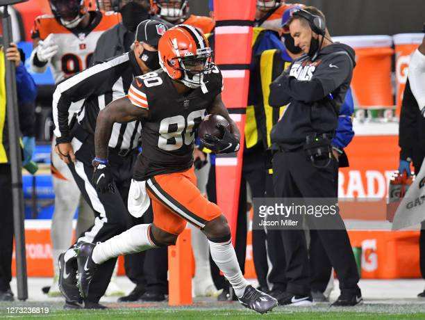 Jarvis Landry of the Cleveland Browns runs for a first down against the Cincinnati Bengals during the second half at FirstEnergy Stadium on September...