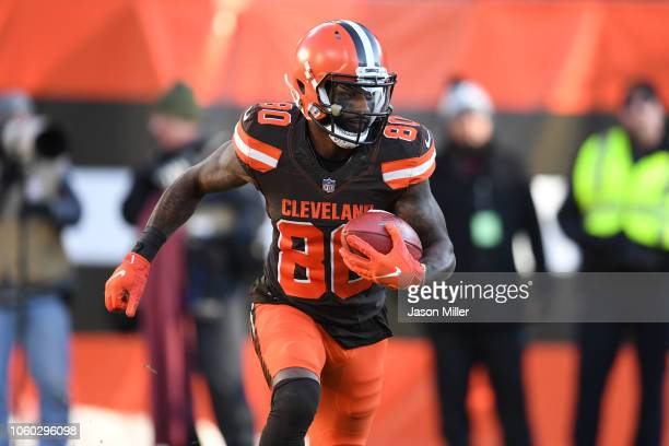 Jarvis Landry of the Cleveland Browns runs the ball in the second half against the Atlanta Falcons at FirstEnergy Stadium on November 11, 2018 in...