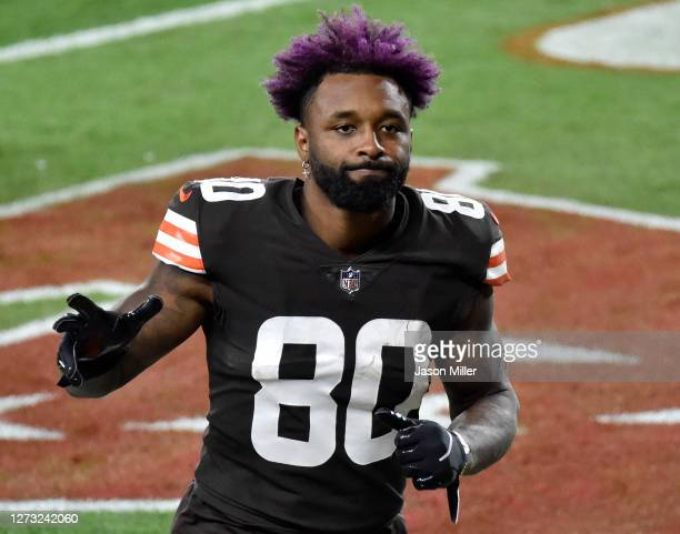 Jarvis Landry of the Cleveland Browns waves as he comes off the field following a win against the Cincinnati Bengals at FirstEnergy Stadium on...