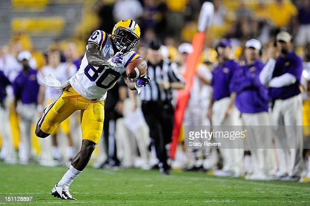Jarvis Landry of the LSU Tigers makes a diving catch late in the game against the North Texas Mean Green at Tiger Stadium on September 1 2012 in...