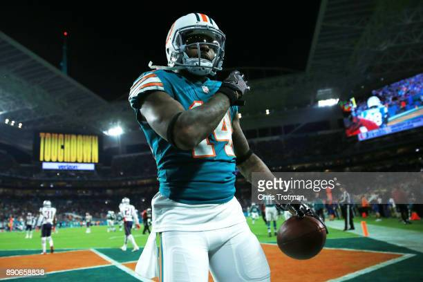 Jarvis Landry of the Miami Dolphins celebrates a touchdown by teammate Jakeem Grant in the third quarter against the New England Patriots at Hard...